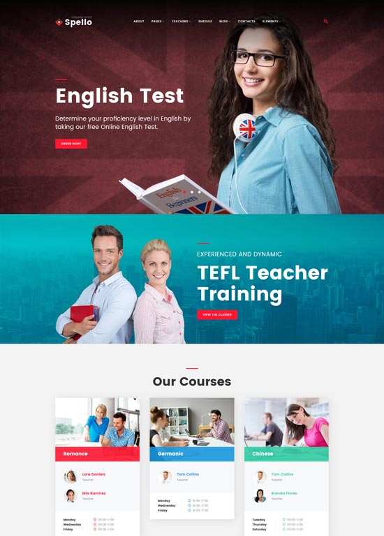 spello language school wordpress theme