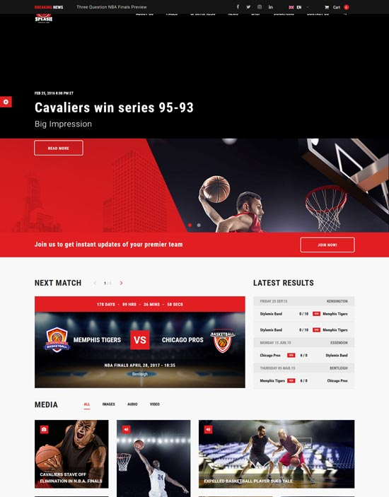 splash basketball sports WordPress theme