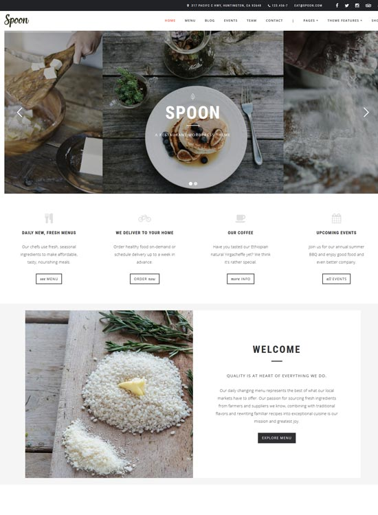 spoon restaurant WordPress theme
