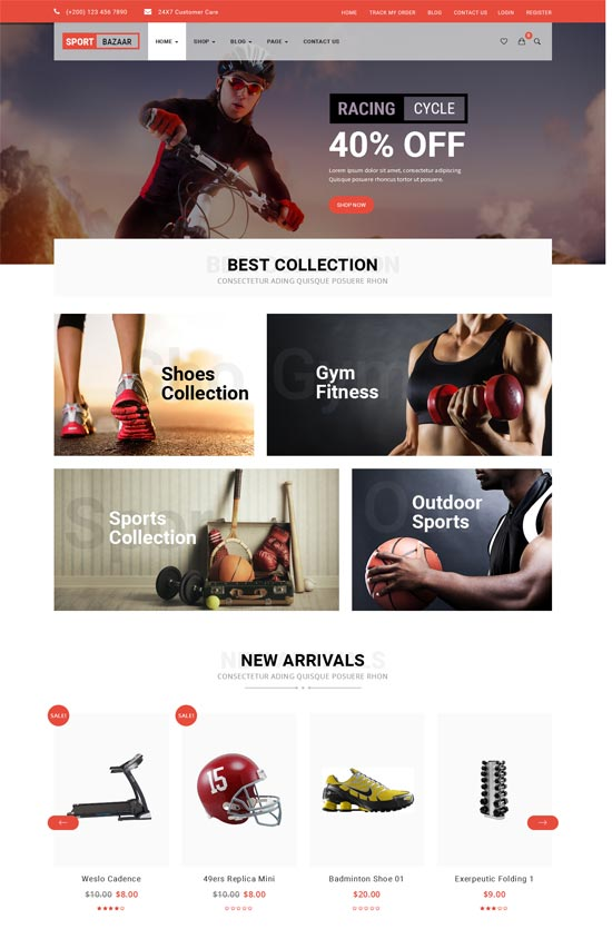 sport bazzar responsive woocommerce wordpress theme