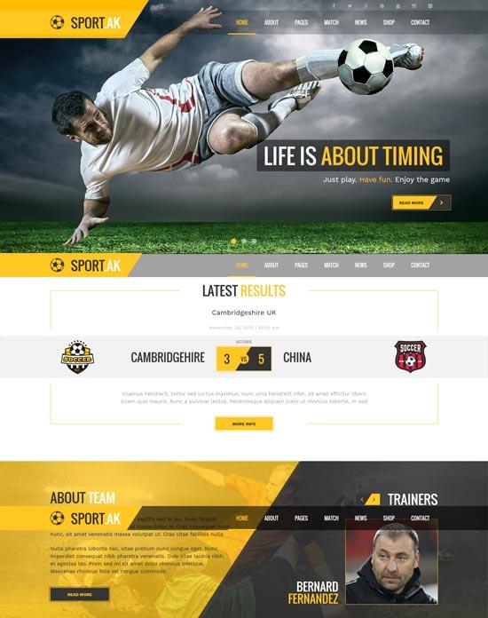 sportak soccer sport html template