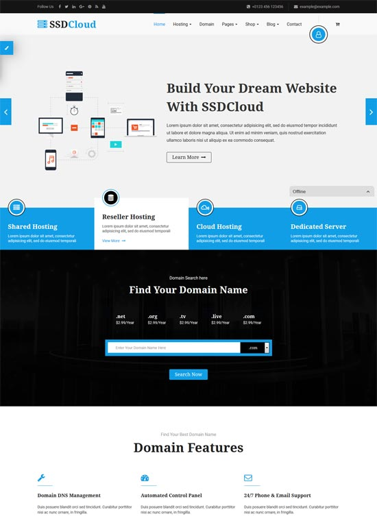 ssdcloud hosting technology business template