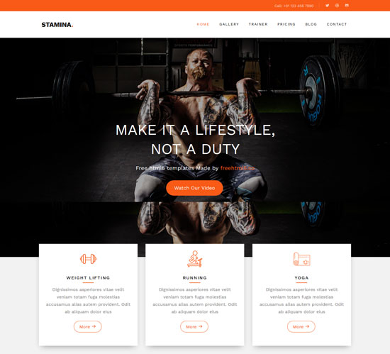 stamina fitness html5 theme