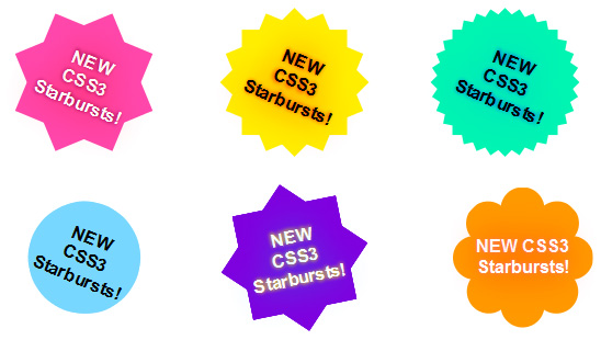 Animated CSS3 starbursts