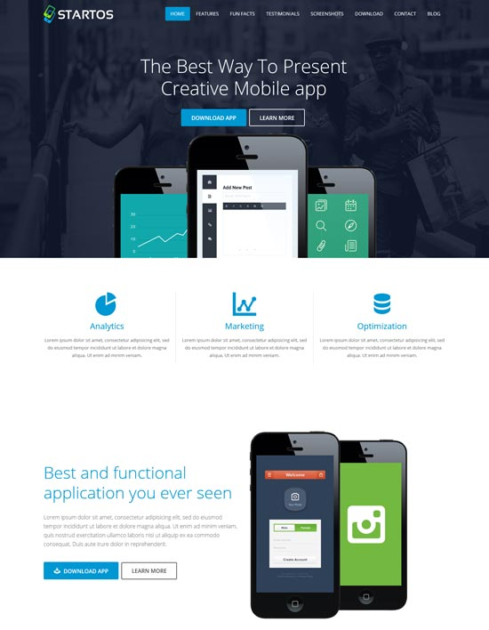 startos app landing page WordPress theme