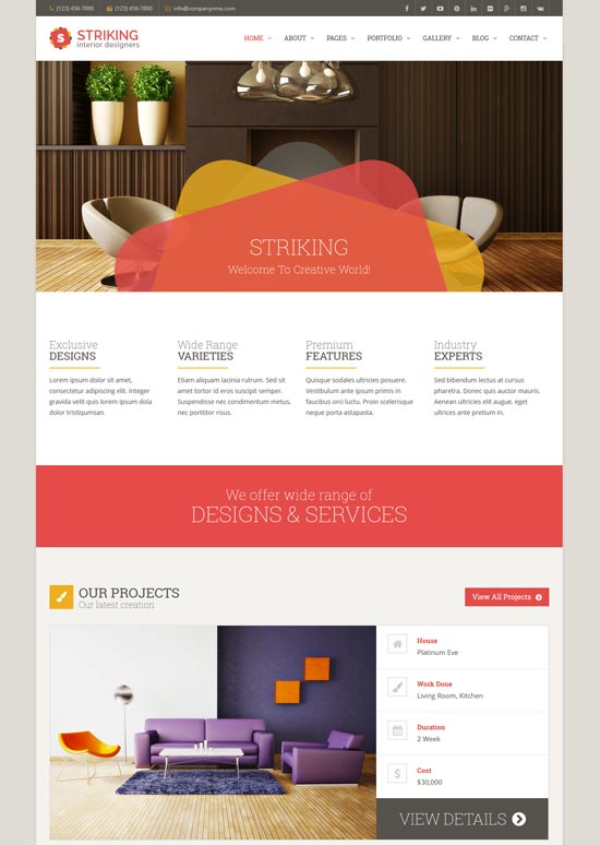 striking interior design company template