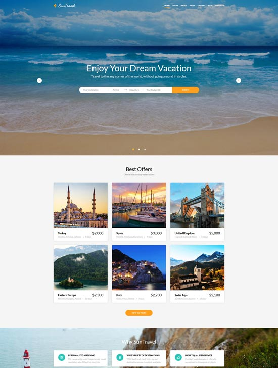 sun travel agency online website template