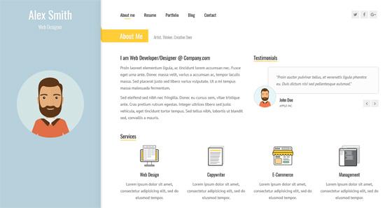 sunshine responsive vcard resume template
