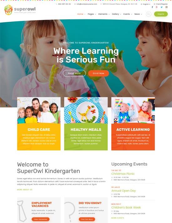 superowl kindergarten school html template