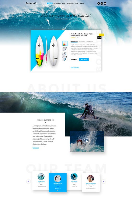 surfers bootstrap ready psd template