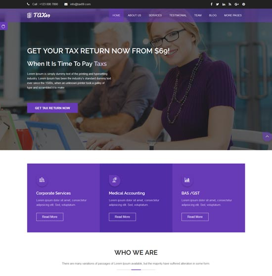 tax69 financial consulting html5 template