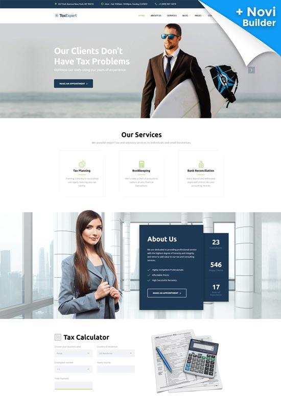 taxexpert tax advisor financial website template