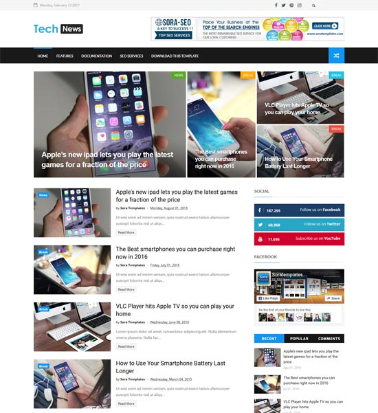 tech news free blogger template