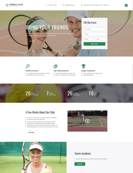 tennis club sports website template