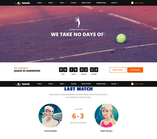 tennis sport club WordPress theme