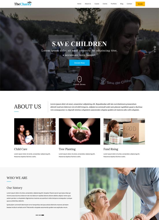 the charity html template