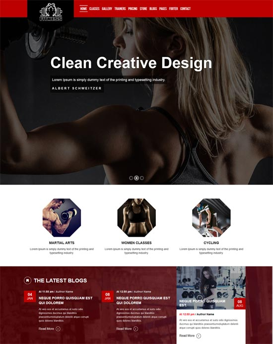 the gym fitness html5 templates