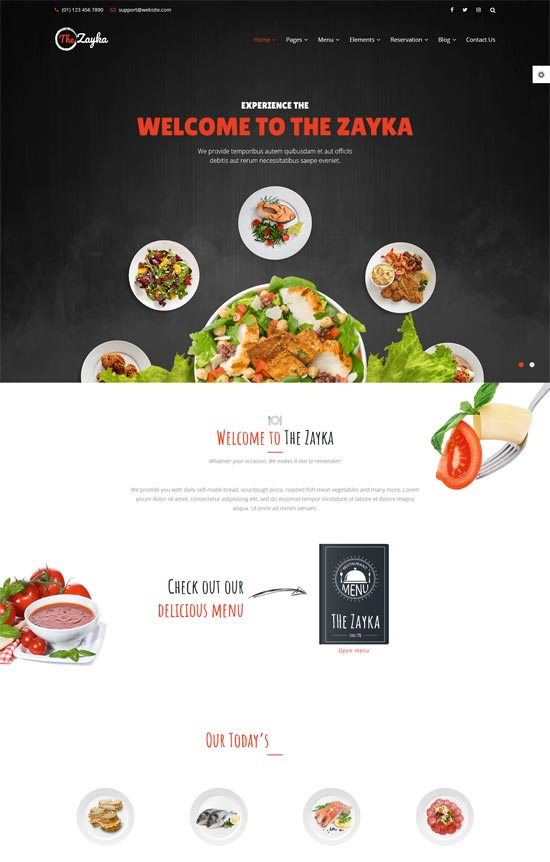 the zayka restaurant food cafe html5 template