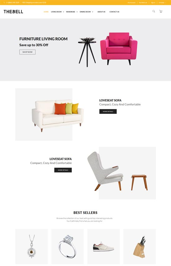 thebell furniture store magento theme