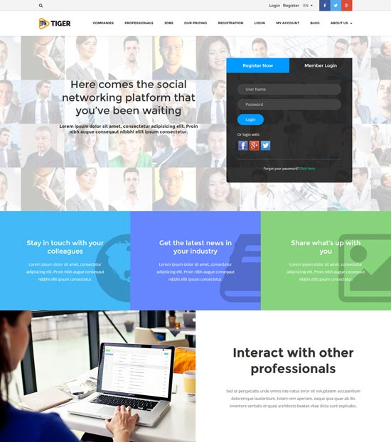tiger social network theme wordpress