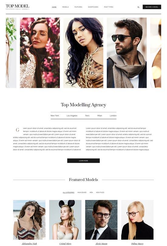 top model fashion model agency wordpress theme