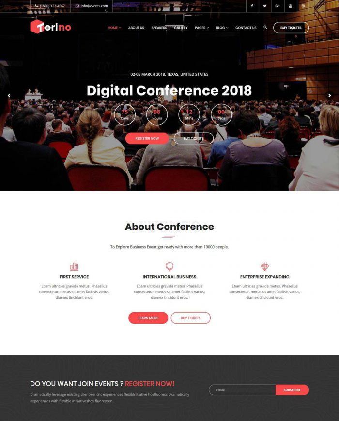 torino conference event wordpress theme