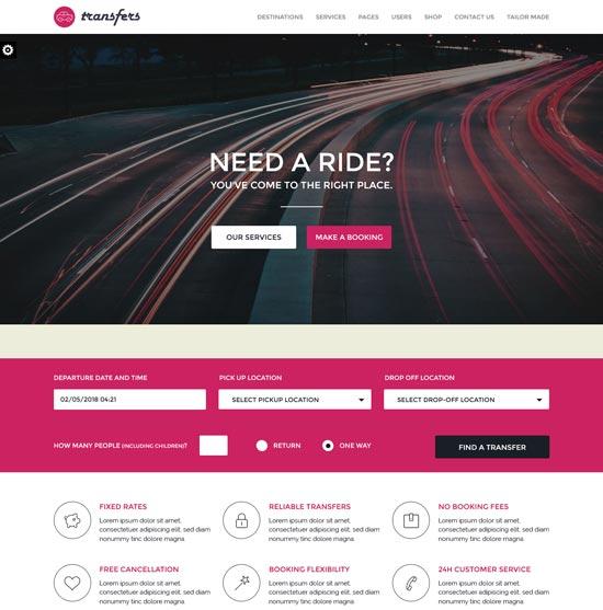 transfers transport car hire WordPress theme