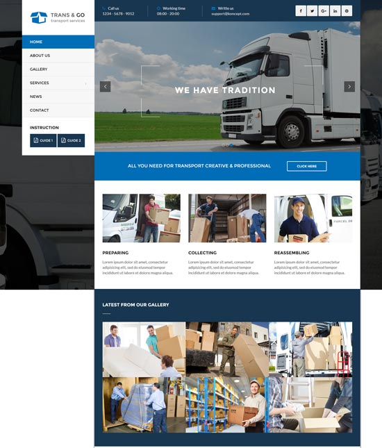 transgo transport logistics WordPress theme