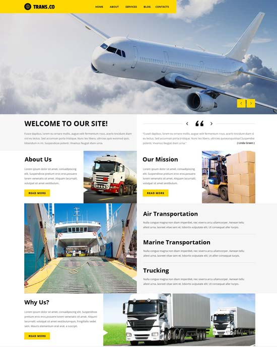 transportation services WordPress theme