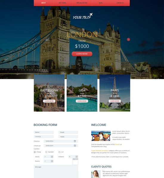 travel agency responsive html5 theme