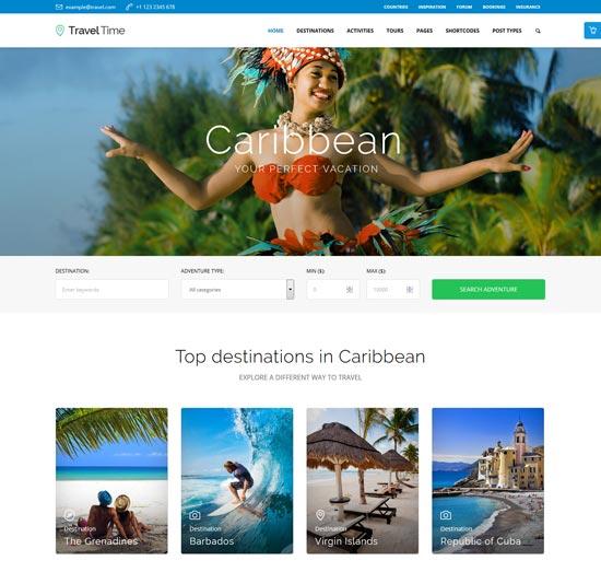 travel time tour travel WordPress theme
