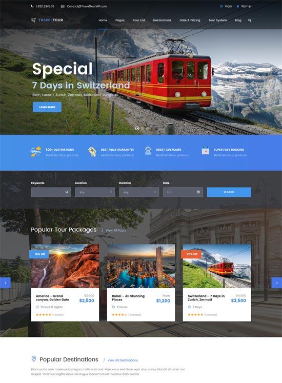 travel tour management system wordpress theme