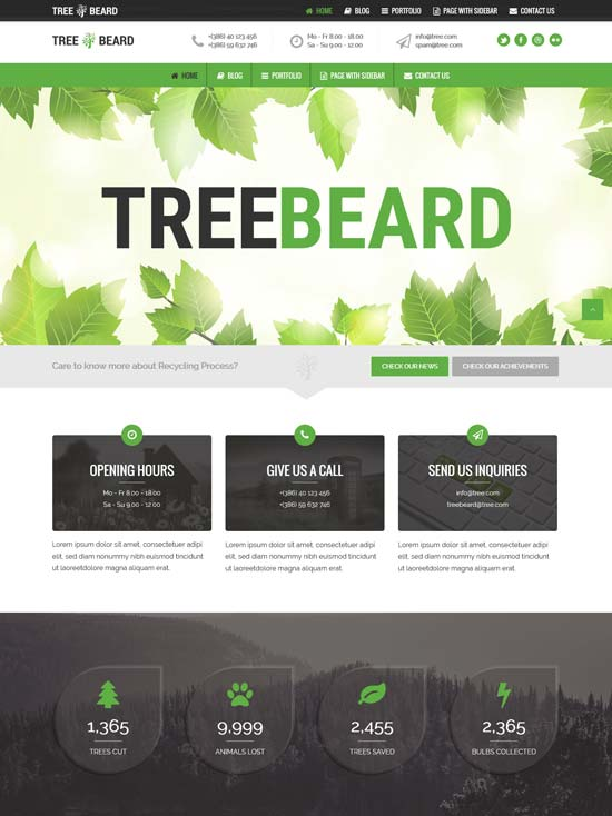 treebeard environmental WordPress theme