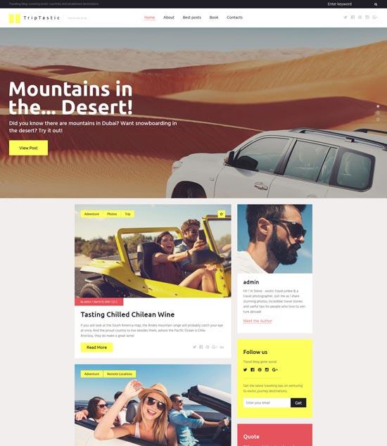 triptastic travel blog WordPress theme