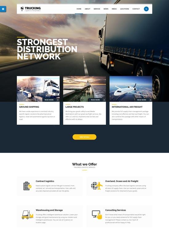 trucking transportation logistics wordpress