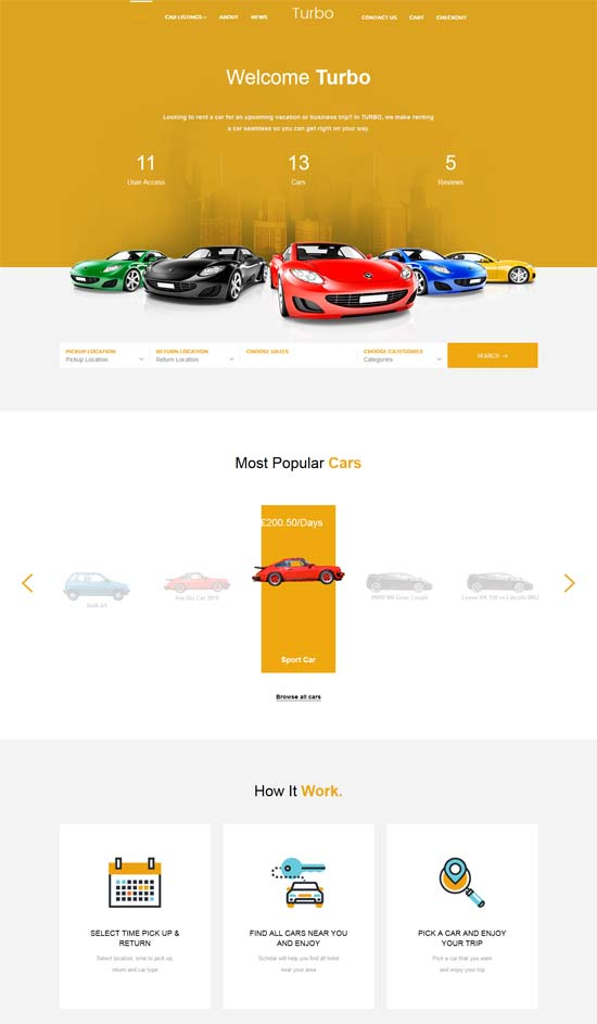 turbo car rental system wordpress theme