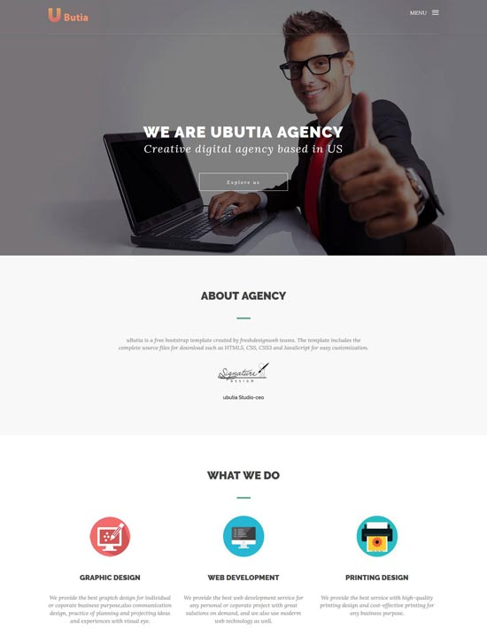 uButia business bootstrap template
