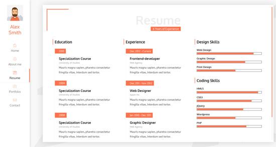 unique resume vcard cv personal template