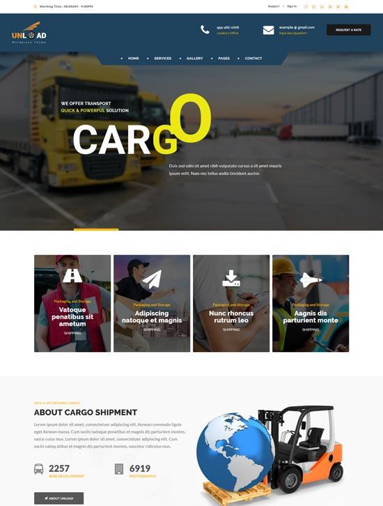 unload cargo transport WordPress theme