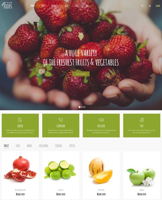 vegan food farm WordPress theme