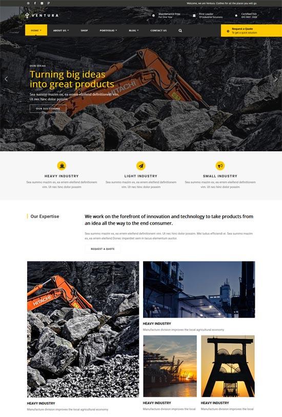 ventura industrial wordpress theme