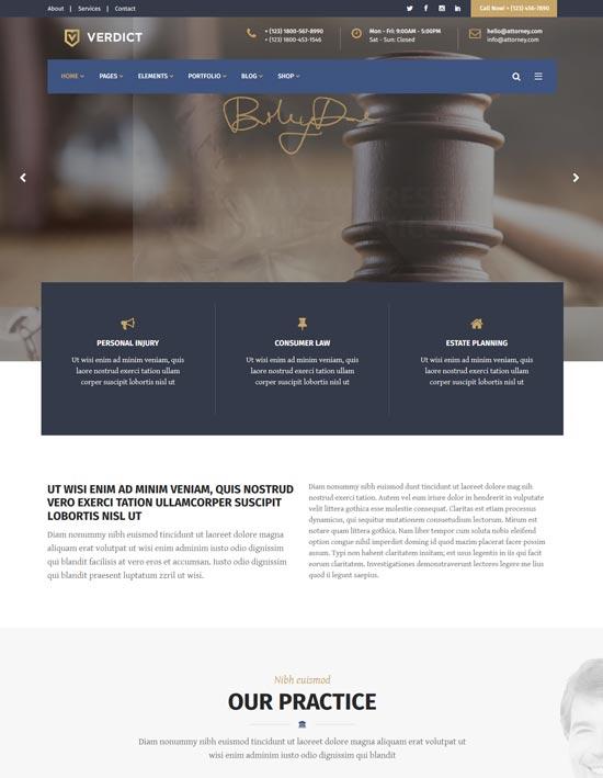 verdict legal advisors wordpress theme