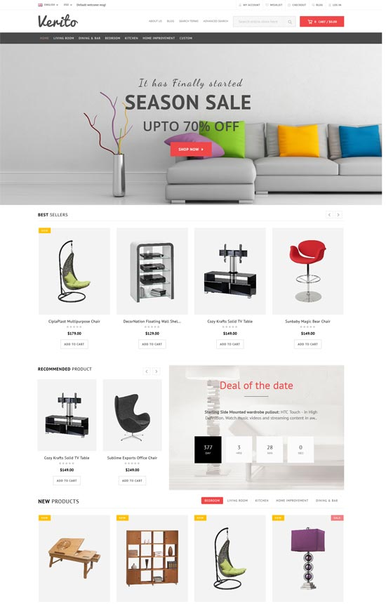 verito furniture store responsive magento theme
