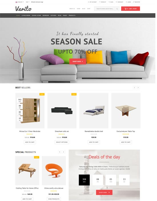verito furniture store wordpress woocommerce theme