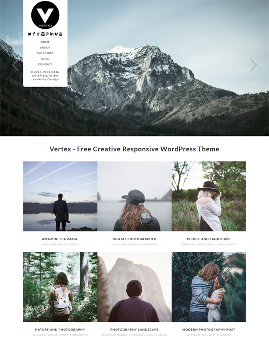 vertex wordpress photography theme