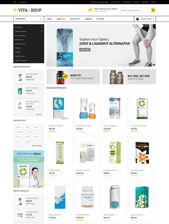 vita shop medicine magento theme