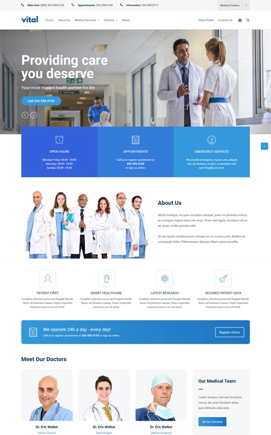 vital health medical wordpress theme