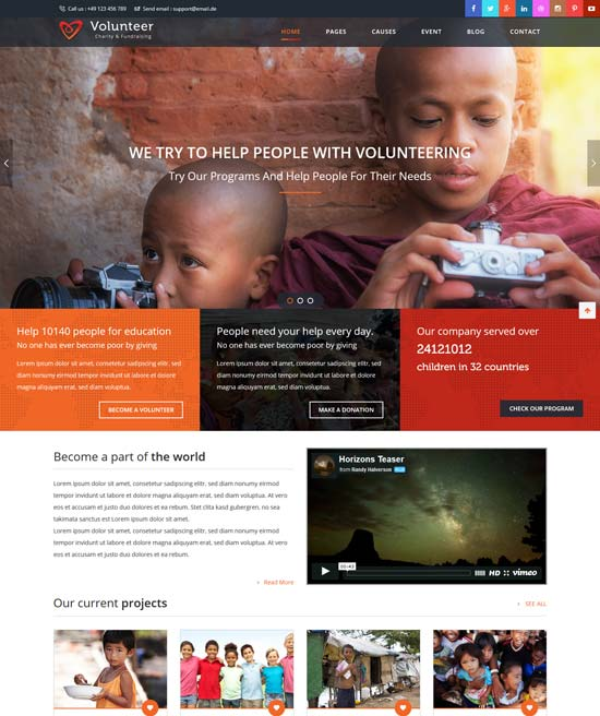 volunteer html template for charity