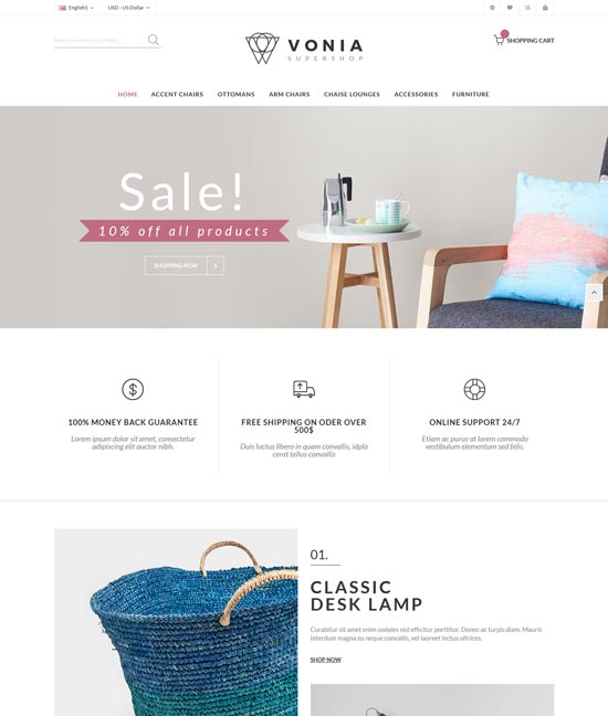 vonia furniture responsive magento theme