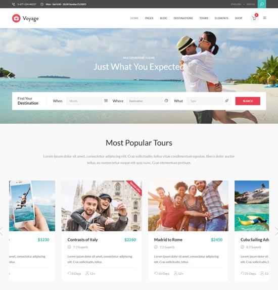 voyage modern travel tour booking theme